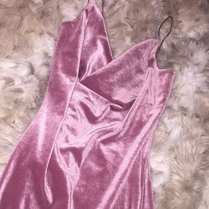 revamped Dresses - Sexy Pink Velvet skin tight mini dress